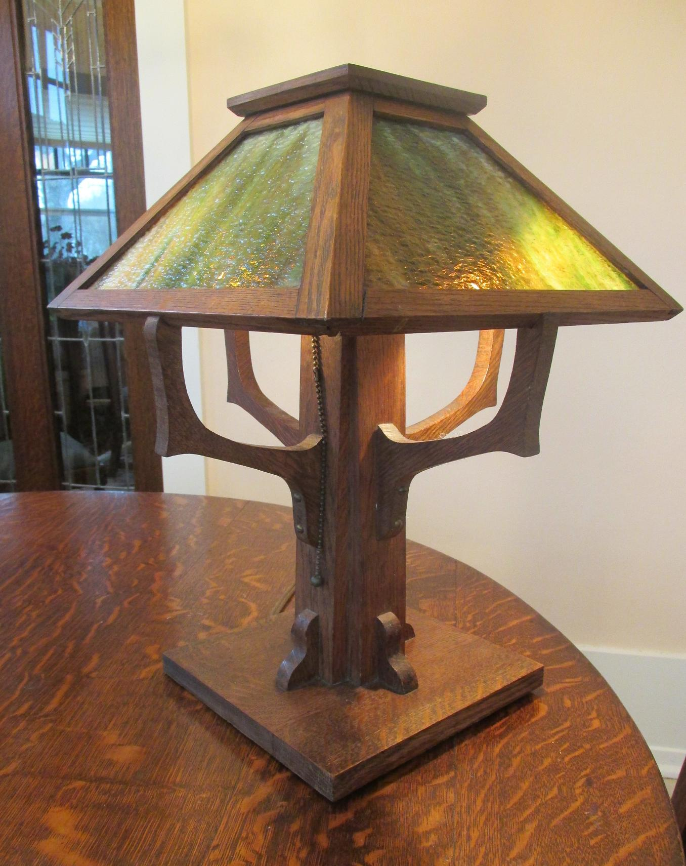 mission oak and slag glass lamp with angled arms this lamp features an ...