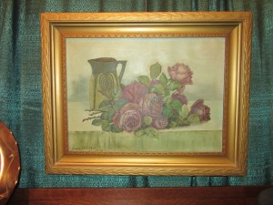 Oil Painting of Roses and Green Pitcher